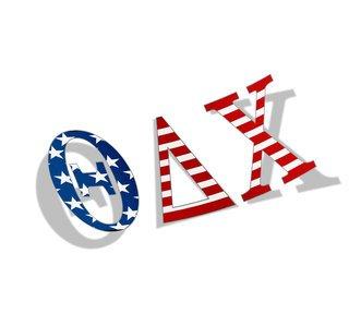 "Theta Delta Chi American Flag Greek Letter Sticker - 2.5"" Tall"