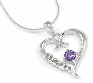 Theta Nu Xi Sterling Silver Heart Pendant with Purple Swarovski Crystal