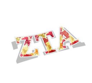 Zeta Tau Alpha Floral Greek Letter Sticker