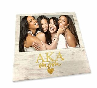 "Alpha Kappa Alpha White 7"" x 7"" Faux Wood Picture Frame"
