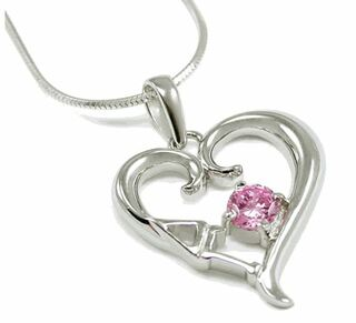 Delta Gamma Sterling Silver Heart Pendant with Pink Crystal