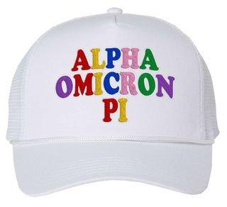 Alpha Omicron Pi Rainbow Trucker Hat