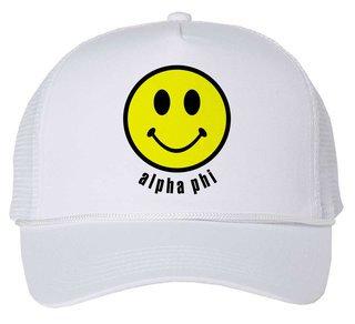 Alpha Phi Smiley Face Trucker Hat
