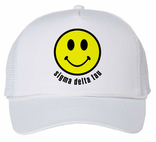 Sigma Delta Tau Smiley Face Trucker Hat
