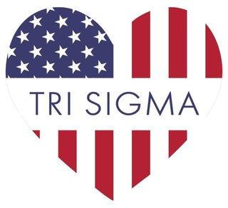 Sigma Sigma Sigma American Flag Greek Heart Shaped Decal