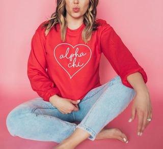 Alpha Chi Omega Heart Crew Sweatshirt