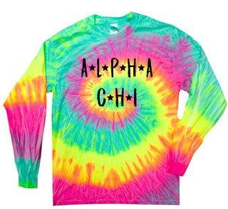 Alpha Chi Omega Starry Night Rainbow Tie Dye Long Sleeve Tee