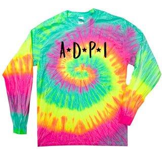 Alpha Delta Pi Starry Night Rainbow Tie Dye Long Sleeve Tee