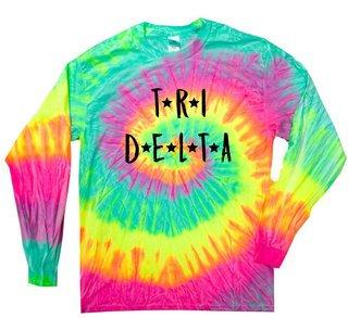 Delta Delta Delta Starry Night Rainbow Tie Dye Long Sleeve Tee