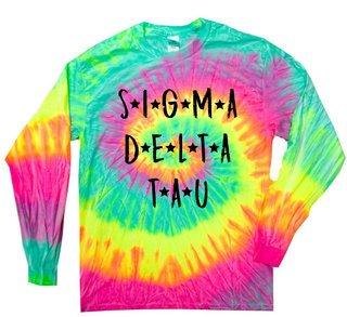 Sigma Delta Tau Starry Night Rainbow Tie Dye Long Sleeve Tee
