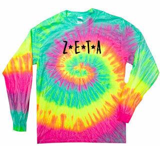 Zeta Tau Alpha Starry Night Rainbow Tie Dye Long Sleeve Tee