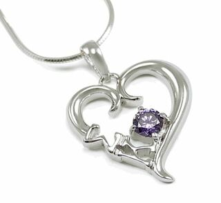 Sigma Kappa Sterling Silver Heart Pendant with Purple Crystal