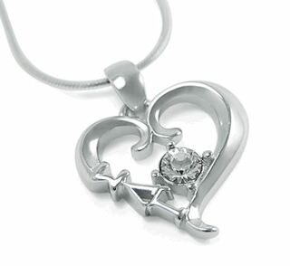 Sigma Lambda Gamma Sterling Silver Heart Pendant with Swarovski Clear Crystal