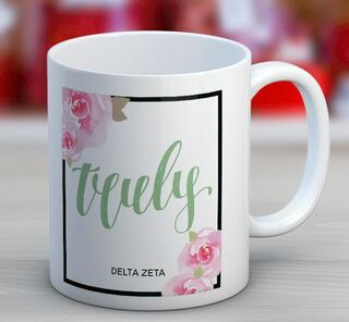 Delta Zeta Floral Motto Coffee Mug