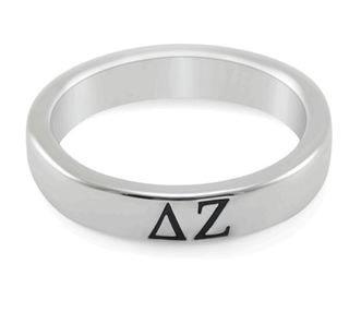 Delta Zeta Sterling Silver Skinny Band Ring
