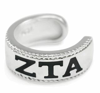 Zeta Tau Alpha Sterling Silver Ear Cuff with Black Enamel Greek letters