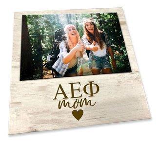 """Alpha Epsilon Phi White 7"""" x 7"""" Faux Wood Picture Frame"""