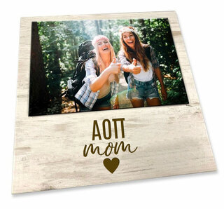 "Alpha Omicron Pi White 7"" x 7"" Faux Wood Picture Frame"