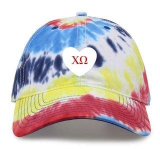 Chi Omega Tye Die Heart Hat