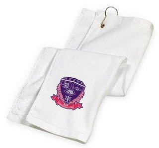DISCOUNT-Sigma Lambda Gamma Crest - Shield Golf Towel