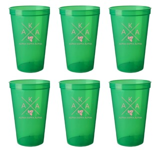 Alpha Kappa Alpha Set of 6 Big Plastic Stadium Cups