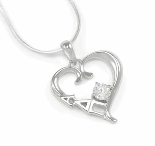 Alpha Delta Pi Sterling Silver Heart Pendant with Swarovski� Clear Crystal
