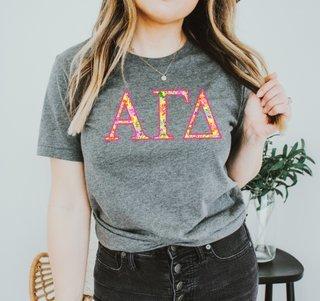 Alpha Gamma Delta Bright Flowers Lettered Short Sleeve T-Shirt