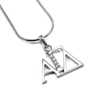 Alpha Gamma Delta Horizontal Lavaliere with Lab-Created Diamonds