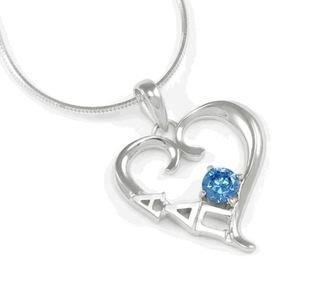 Alpha Delta Pi Sterling Silver Heart Pendant with Swarovski� Blue Crystal