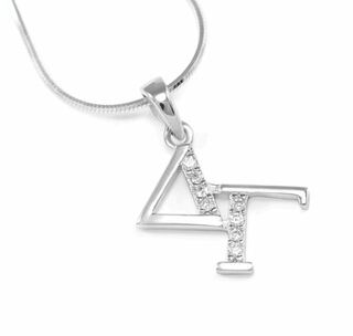 Delta Gamma Sterling Silver Diagonal Lavaliere set with Lab-Created Diamonds