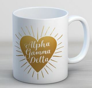Alpha Gamma Delta Heart Burst Coffee Mug