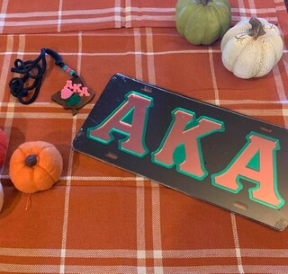 The New Super Savings - Alpha Kappa Alpha Necklace and License Plate Set - PINK GREEN AND BLACK