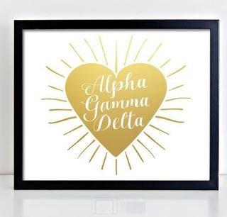 Alpha Gamma Delta Heart Burst Foil Print
