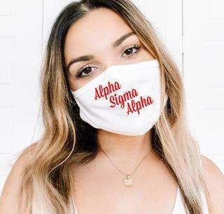Alpha Sigma Alpha Script Face Mask