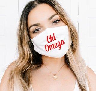 Chi Omega Script Face Mask