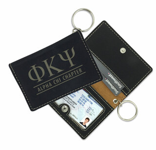 Greek Leatherette ID Key Holders