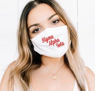 Sigma Alpha Iota Script Face Mask