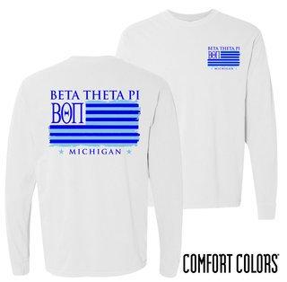 Beta Theta Pi Stripes Long Sleeve T-shirt - Comfort Colors