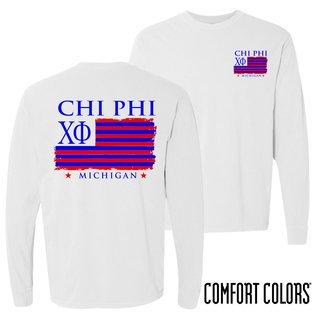 Chi Phi Stripes Long Sleeve T-shirt - Comfort Colors