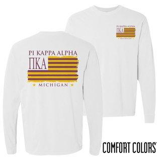 Pi Kappa Alpha Stripes Long Sleeve T-shirt - Comfort Colors