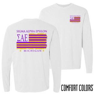 Sigma Alpha Epsilon Stripes Long Sleeve T-shirt - Comfort Colors