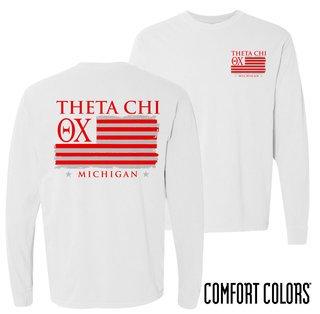 Theta Chi Stripes Long Sleeve T-shirt - Comfort Colors
