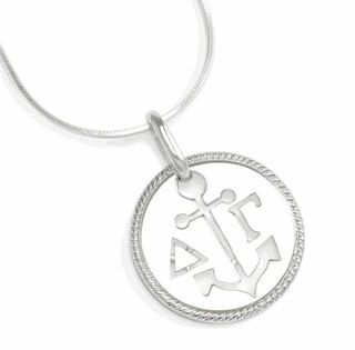 Delta Gamma Sterling Silver Circular Pendant with Cut-Out Anchor and Letters