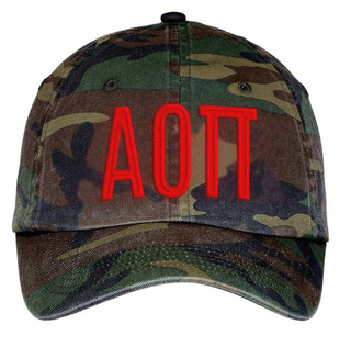 Alpha Omicron Pi Lettered Camouflage Hat