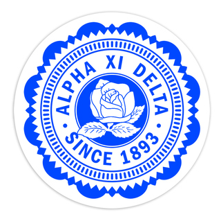 "Alpha Xi Delta 5"" Sorority Seal Bumper Sticker"