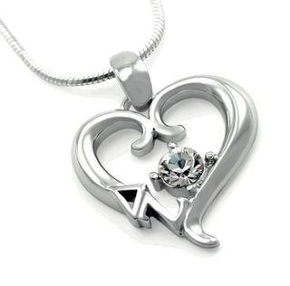 Delta Zeta Sterling Silver Heart Pendant with Swarovski Clear Crystal