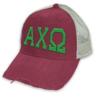 Alpha Chi Omega Distressed Trucker Hat