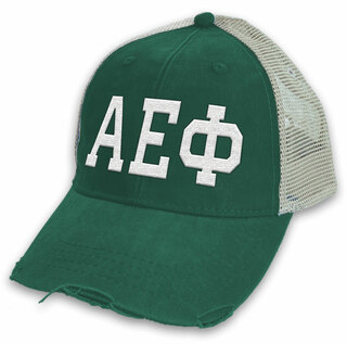 Alpha Epsilon Phi Distressed Trucker Hat