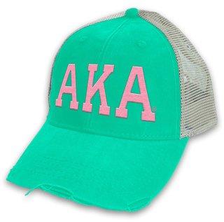 Alpha Kappa Alpha Distressed Trucker Hat