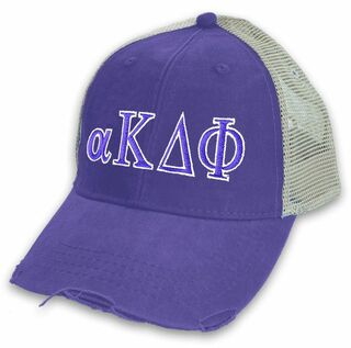 alpha Kappa Delta Phi Distressed Trucker Hat